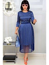 cheap -Women's Daily Wear Elegant Two Piece Dress - Polka Dot Navy Blue S M L XL
