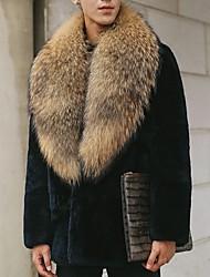 cheap -Men's Daily Fall & Winter Regular Faux Fur Coat, Color Block Turndown Long Sleeve Faux Fur Black