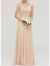 cheap -A-Line Plunging Neck Floor Length Chiffon Bridesmaid Dress with Sash / Ribbon / Pleats / Open Back