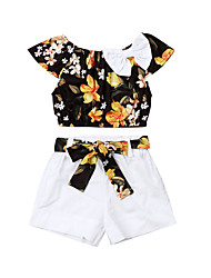 cheap -Baby Girls' Active Solid Colored / Floral Sleeveless Short Short Clothing Set