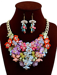 cheap -Women's Statement Necklace Bib Flower Ladies European Chunky fancy Alloy Rainbow Black Yellow Pink Beige Necklace Jewelry For Casual Daily