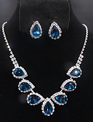 cheap -Women's Stud Earrings Choker Necklace Pendant Necklace Briolette Precious Pear Unique Design Fashion Silver Plated Earrings Jewelry Red / Blue For Wedding Party Holiday 1 set / Bridal Jewelry Sets