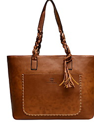 cheap -Women's Zipper PU Top Handle Bag Solid Color Black / Brown / Dark Brown