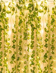 cheap -Artificial Plants LED String Light 2M Creeper Green Leaf Home Wedding Outdoor Ivy Vine Decoration Lamp DIY Hanging Garden Patio Yard (without Battery)