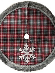 cheap -Christmas Tree Skirt Red Plaid Christmas Decoration Warm Plush Fur Edge Snowflake Rug 2020 Navidad High Quality Vintage