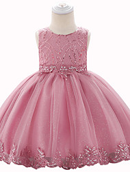 cheap -Baby Girls' Active Solid Colored / Jacquard Beaded / Bow / Layered Sleeveless Knee-length Dress Dusty Rose