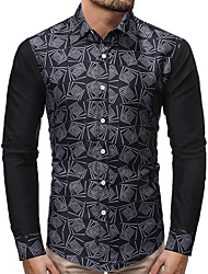 cheap -Men's Daily Going out Basic Shirt - Color Block Black
