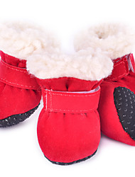 cheap -Dogs Boots / Shoes Christmas Fashion Sports and Outdoors For Pets Plush Fabric Fuchsia