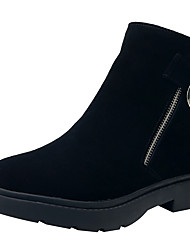 cheap -Women's Boots Low Heel Round Toe Suede / Cowhide Booties / Ankle Boots Winter Black / Almond / Gray