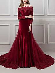cheap -Mermaid / Trumpet Off Shoulder Chapel Train Polyester Beautiful Back / Red Engagement / Formal Evening Dress with Overskirt / Appliques 2020
