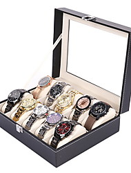 cheap -PU Leather Mens Watch Box Organizer with Key Lock Glass Window