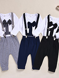 cheap -Baby Boys' Active / Basic Black & White Solid Colored / Print Bow / Lace up / Print Long Sleeve Regular Regular Clothing Set Black