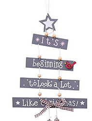 cheap -Christmas Tree Letter Wooden Hanging Party Pendant Home Door Ornament Xmas Craft