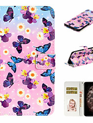 cheap -Case For Apple iPhone 11 / iPhone 11 Pro / iPhone 11 Pro Max Wallet / Card Holder / Shockproof Full Body Cases Butterfly PU Leather