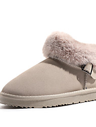 cheap -Women's Boots Snow Boots Flat Heel Round Toe Stitching Lace Satin Booties / Ankle Boots Casual Walking Shoes Fall & Winter Black / Beige / Gray