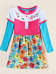 cheap -Kids Girls' Active Tropical Leaf Daisy Sun Flower Plants Floral Jacquard Embroidered Long Sleeve Above Knee Dress Fuchsia / Cotton