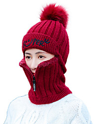 cheap -Women's Work Basic Acrylic Polyester Knitwear Floppy Hat Ski Hat-Solid Colored Fall Winter Black Wine Blushing Pink