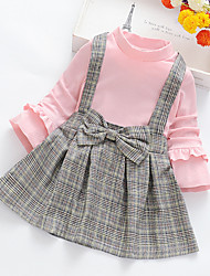 cheap -Kids Girls' Sweet Cute Patchwork Jacquard Ruffle Patchwork Long Sleeve Above Knee Dress Black