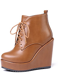 cheap -Women's Boots Wedge Heel Round Toe PU Booties / Ankle Boots Vintage / British Fall & Winter Black / Yellow / Beige
