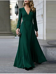 cheap -Women's Maxi A Line Dress - Solid Colored V Neck Black Wine Army Green S M L XL