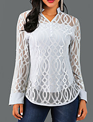 cheap -Women's Causal Blouse - Solid Colored / Geometry Lace V Neck Gray / Spring / Fall