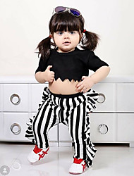 cheap -Baby Girls' Casual Black & White Solid Colored Pleated Short Sleeve Short Clothing Set Black