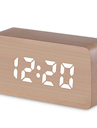 cheap -Digital Alarm Clock, Wood LED Light Mini Modern  Desk Alarm Clock Displays Time Date Temperature Kids, Bedroom, Home, Dormitory, Travel