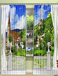 abordables -ville rurale sur la colline impression numérique 3d rideau rideau d'ombrage haute précision noir tissu de soie haute qualité rideau
