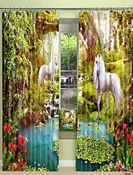 cheap -White Horse Digital Printing in Fairyland 3D Curtain Shading Curtain High Precision Black Silk Fabric High Quality Curtain