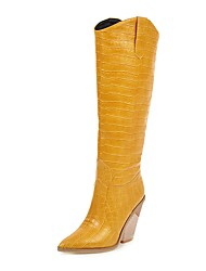 cheap -Women's Boots Knee High Boots Chunky Heel Round Toe PU Knee High Boots Vintage Fall & Winter Black / White / Yellow / Party & Evening