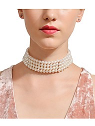cheap -Women's Obsidian Choker Necklace Ladies Personalized Euramerican Imitation Pearl White Necklace Jewelry For Party Special Occasion Daily Casual