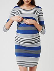 cheap -Women's Above Knee Maternity Red Blue Dress Basic Street chic T Shirt Striped S M