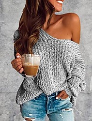 cheap -Women's Solid Colored Pullover Long Sleeve Sweater Cardigans V Neck Wine White Blue