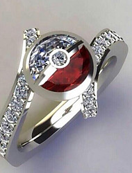 cheap -Adjustable Ring AAA Cubic Zirconia Silver Platinum Plated Floral Theme Unique Design European Trendy 1pc 6 7 8 9 / Women's / Gift / Daily