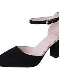 cheap -Women's Heels Chunky Heel Pointed Toe Suede Summer Black / Brown / Pink