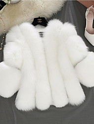 cheap -Women's Faux Fur Coat Short Solid Colored Daily Basic Plus Size White Blushing Pink Gray S M L XL