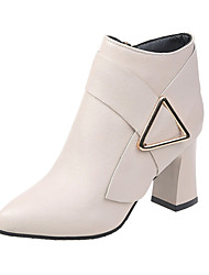 cheap -Women's Boots Chunky Heel Pointed Toe Buckle PU Booties / Ankle Boots Minimalism Fall & Winter Black / Beige / Party & Evening