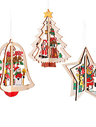 cheap -3 Piece Christmas Tree Pendants 3D Party Decoration High Quality Wood Pendants Color Decoration