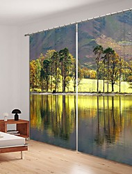 cheap -Oil Painting Style Lake Forest Environmental Potection Digital Printing 3D Curtain Shading Curtain High Precision Black Silk Cloth Hgh Quality Curtain