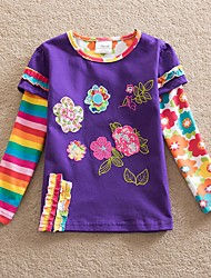 cheap -Kids Girls' Basic Boho Daisy Sun Flower Floral Plaid Jacquard Embroidered Long Sleeve Cotton Tee Purple