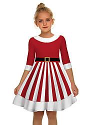 cheap -Kids Girls' Active Sweet Santa Claus Christmas Half Sleeve Above Knee Dress Red