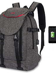 cheap -15.6 Inch Laptop Commuter Backpacks Canvas Solid Color Unisex Water Proof Shock Proof with USB Charging Port / Headphones Hole