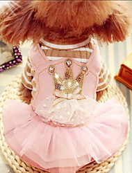 cheap -Dogs Cats Pets Dress Dog Clothes Pink Costume Baby Small Dog Polyster Tiaras & Crowns Wedding XS S M L XL