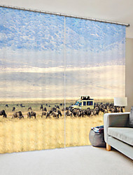 cheap -Grassland Shepherd Digital Printing 3D Curtain Shading Curtain High Precision Black Silk Cloth High Quality Curtain