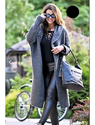 cheap -Women's Daily / Holiday Street chic Fall / Fall & Winter Long Coat, Solid Colored Hooded Long Sleeve Acrylic Patchwork Yellow / Green / Beige / Loose