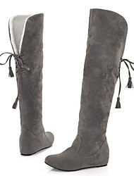 cheap -Women's Boots Flat Heel Round Toe Suede Mid-Calf Boots Fall & Winter Red / Gray