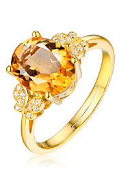 cheap -Women's Adjustable Ring Crystal 1pc Gold 18K Gold Plated Alloy Stylish Daily Jewelry Cute