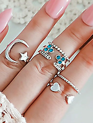 cheap -Women's Ring Ring Set Open Ring 6pcs Silver Rhinestone Alloy irregular Classic Trendy Fashion Gift Daily Jewelry Retro Moon Heart Star