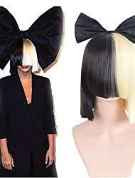 cheap -Headpiece Synthetic Wig Straight Bob Neat Bang With Bangs Wig Black / Blonde Medium Length Black / Gold Synthetic Hair 14 inch Women's Cosplay Soft Party Black / Blonde