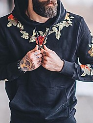 cheap -Men's Hoodie Floral / Letter Hooded Casual White Black US32 / UK32 / EU40 US34 / UK34 / EU42 US38 / UK38 / EU46 US40 / UK40 / EU48 US42 / UK42 / EU50